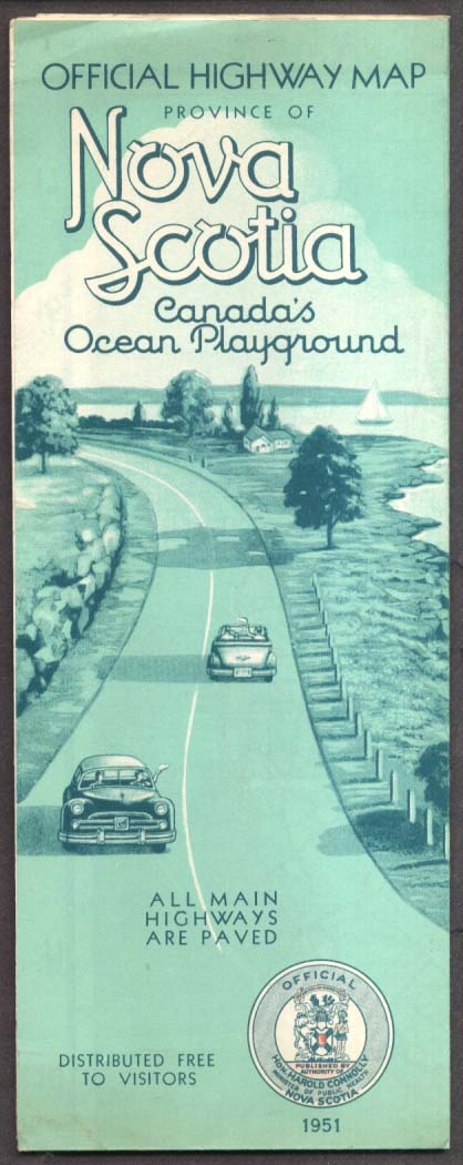 Nova Scotia Canada Official Road & Highway Map 1951