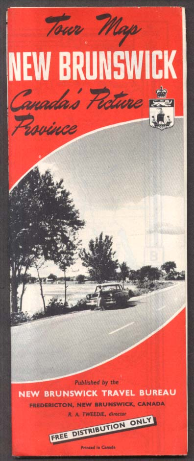New Brunswick Canada Official Road Map 1956
