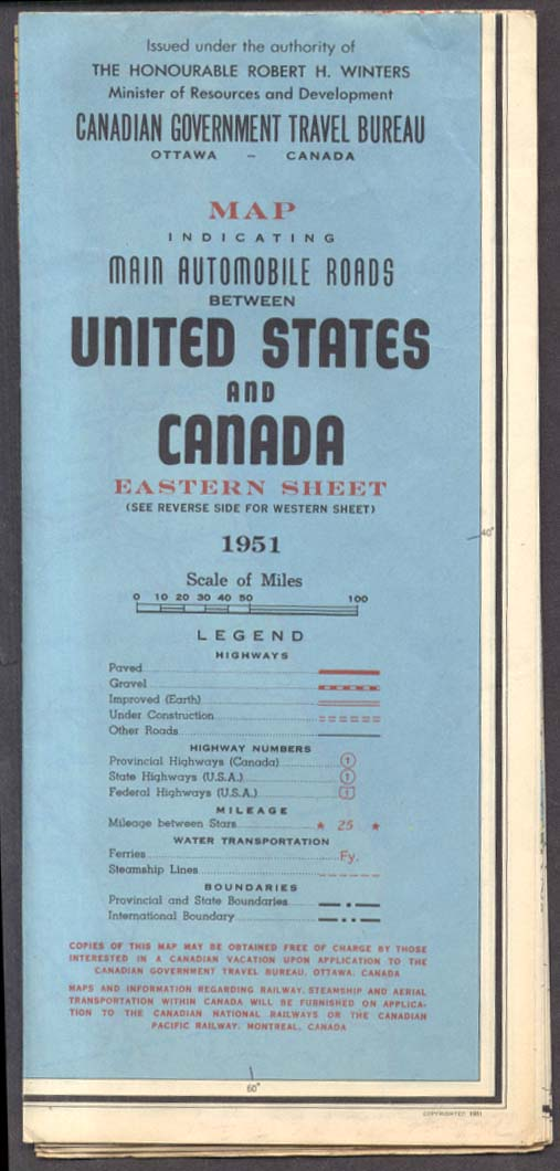 Canadian Government Main Roads between US & Canada Eastern Sheet 1951