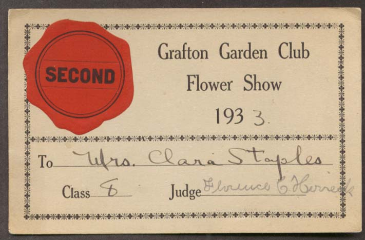 Image for Grafton Garden Club Flower Show 2nd Place Card 1933 MA.