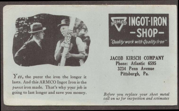 Armco Ingot-Iron Shop Jacob Kirsch Pittsburgh blotter 1920s
