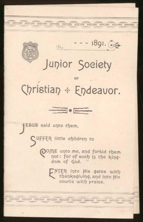 Junior Society of Christian Endeavor Prayer Meeting Topics folder 1891 Boston MA