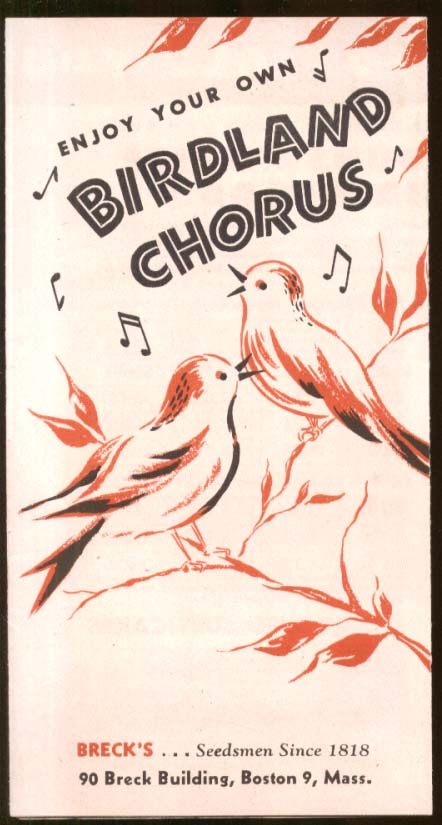 Breck's Bird House Feeder & Bird Food folder 1950s