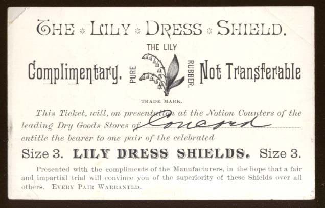 Image for Lily Dress Shield Complimentary ticket for 1 pair Concord NH ca 1890s