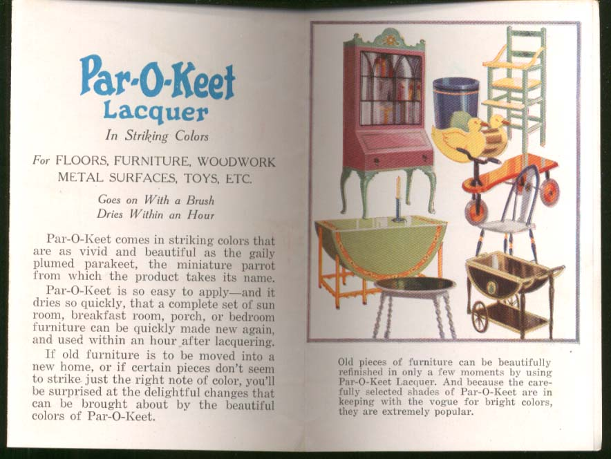 Par-O-Keet Lacquer Making Old Furniture Harmonize folder 1930s
