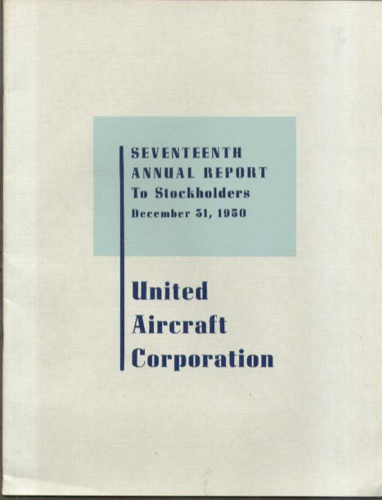 United Aircraft Corporation Report to Stockholders 1950