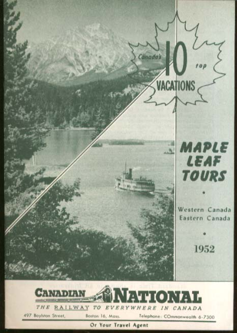 Canadian National Railway Maple Leaf Tours brochure 1952