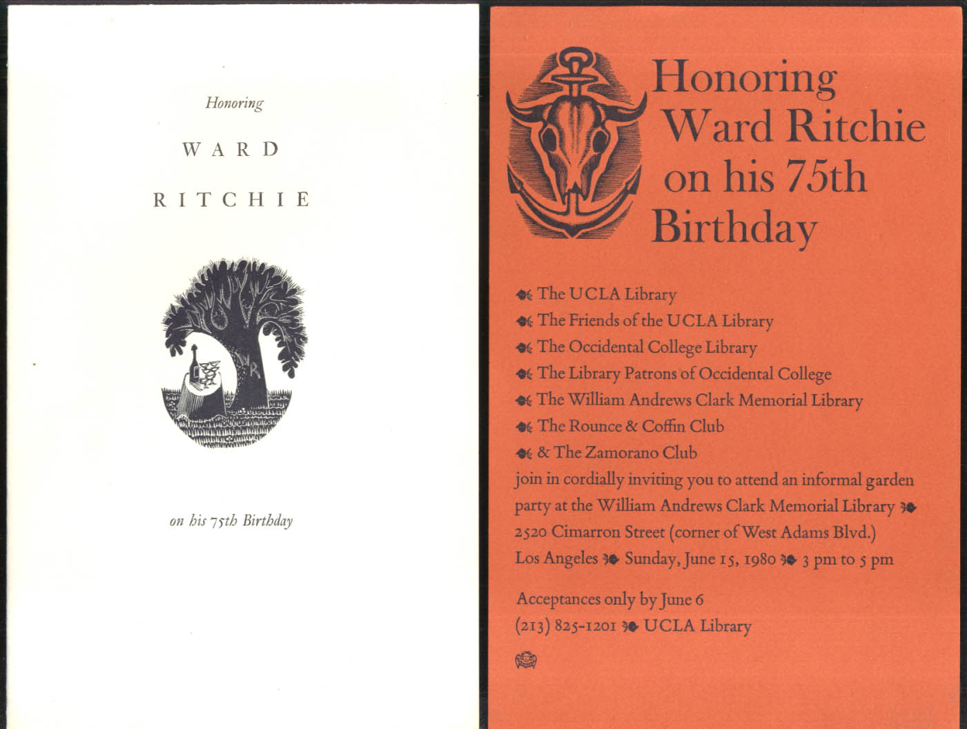 Honoring Ward Ritchie on His 75th Birthday invitations Los Angeles 1980