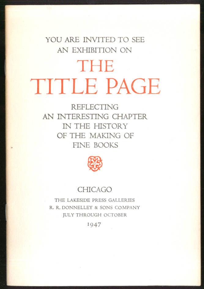 The Title Page Exhibition Invitation Lakeside Press 1947