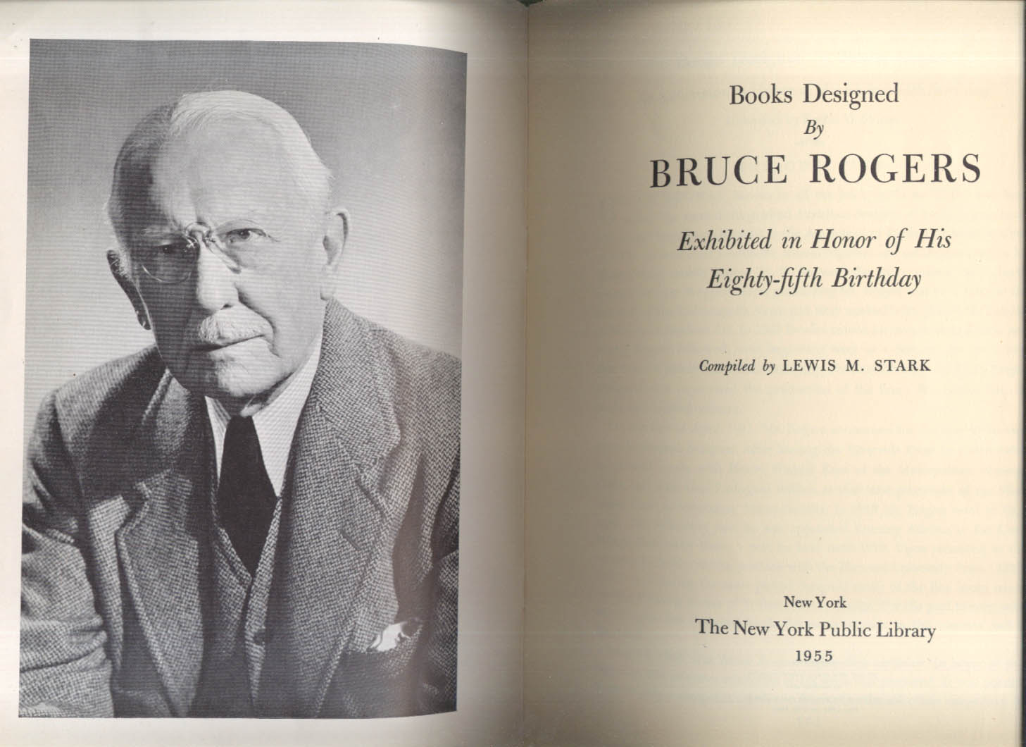 Books Designed by Bruce Rogers 85th Birthday Exhibit 1955 NY Public Library