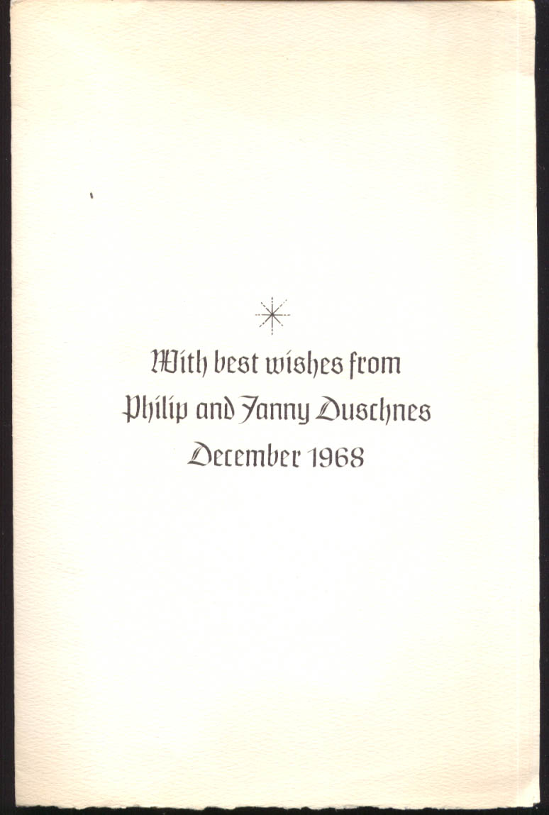 Philip & Fanny Duschnes Christmas Card 1968