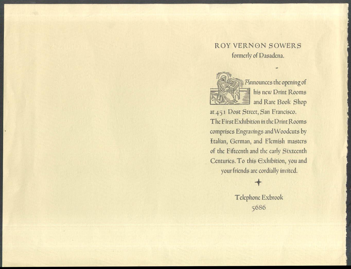 Roy Vernon Sowers Print Room Exhibition Announcement Grabhorn ca 1930s