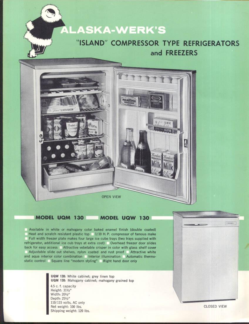 Alaska-Werk Island Compressor-Type Refrigerator Freezer sales folder ca 1950s