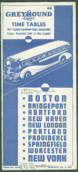 Greyhound Lines Bus Time Tables Boston-New York 1/10 1938