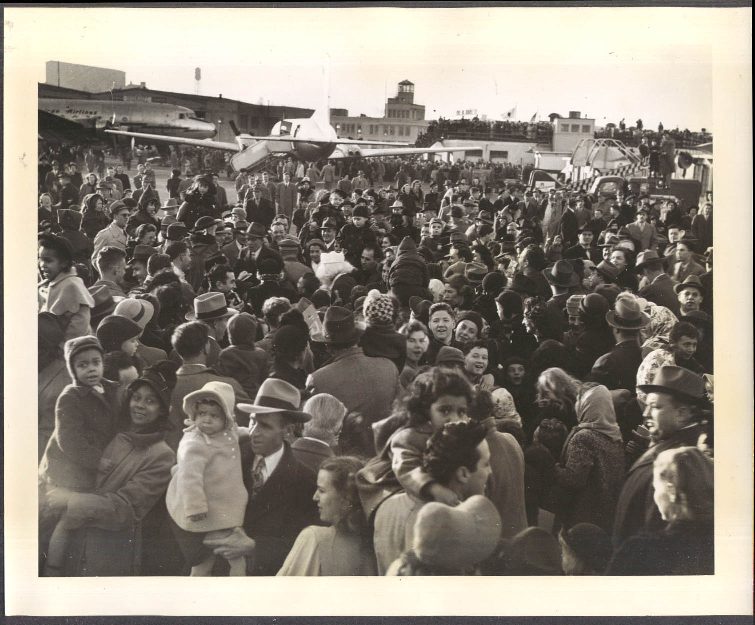 Crowd overflows to greet American Airlines Convair inaugural Boston 1948 8x10