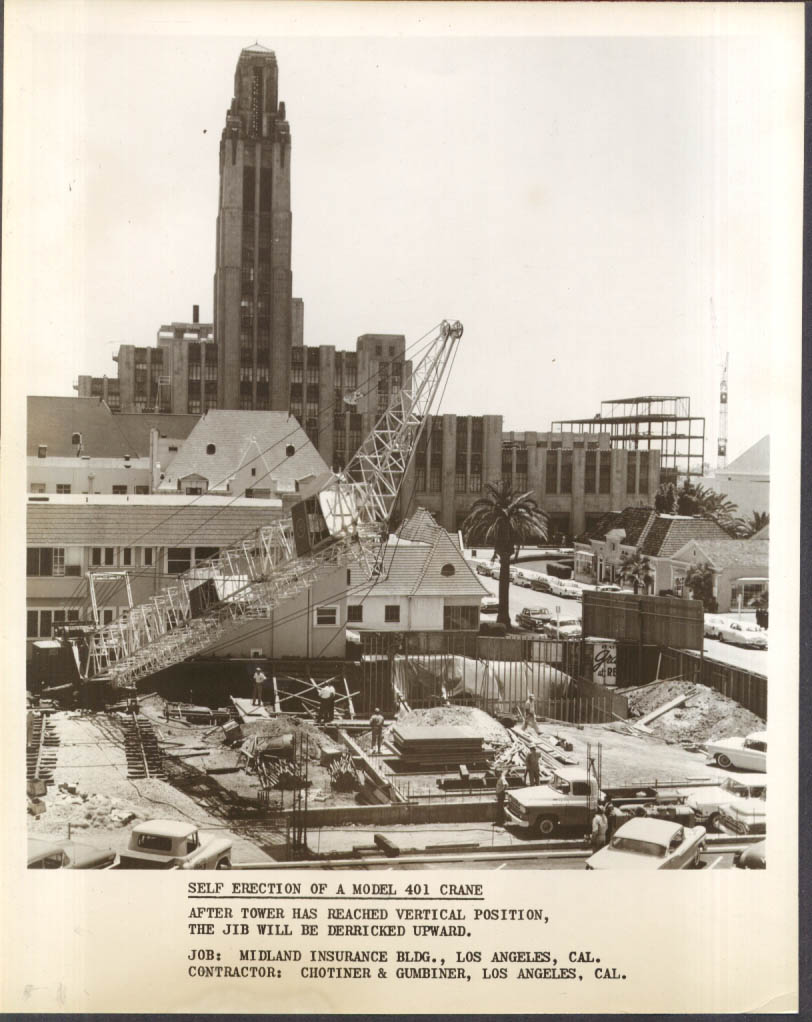 American Pecco Tower Crane Model 401 self erection Los Angeles 8x10 1950s