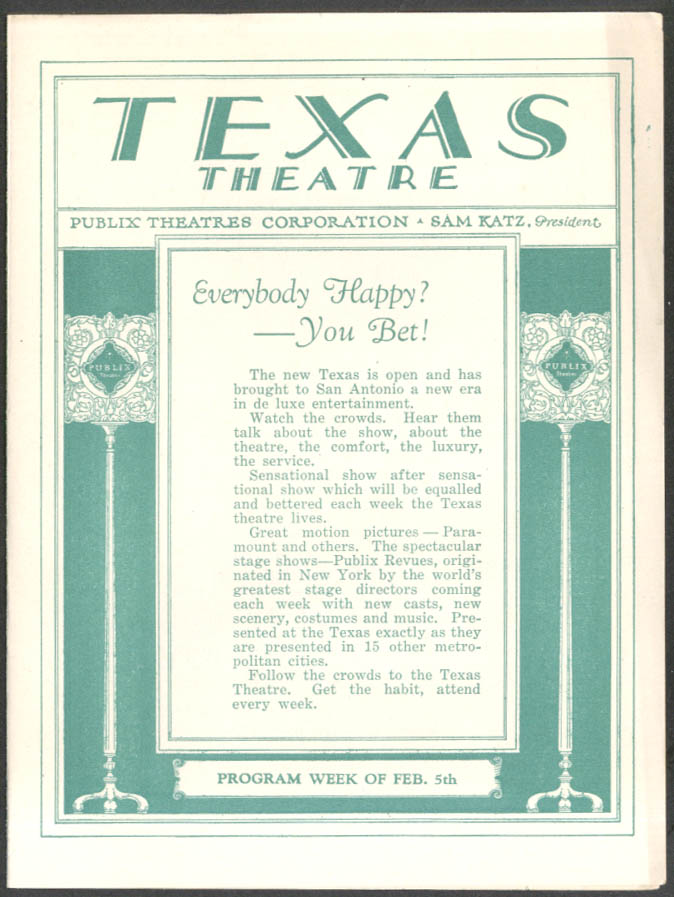 Clara Bow in IT & vaudeville program Texas Theatre San Antonio 2/5 1927