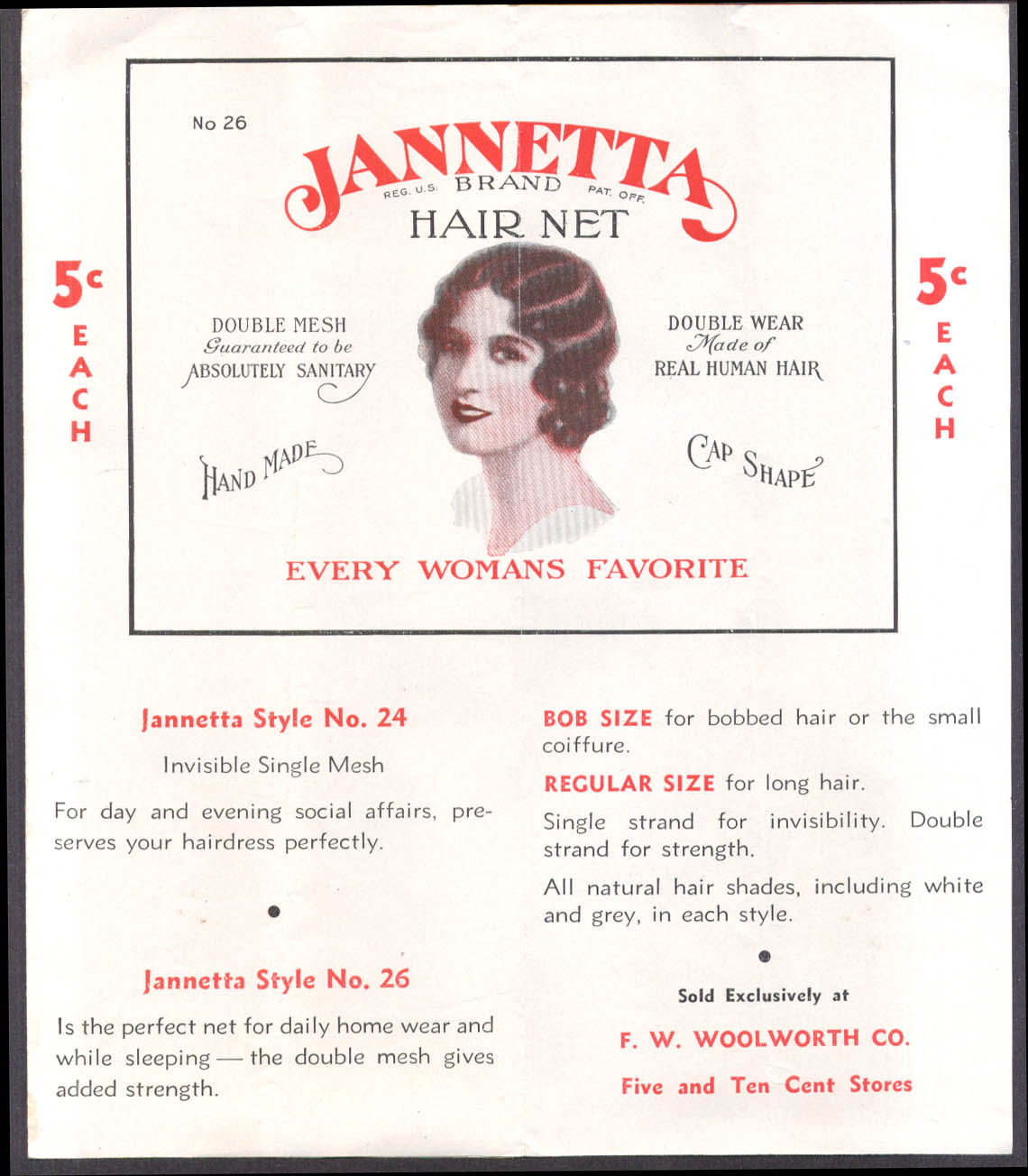 Jannetta Human Hair Nets Protect Your Hairdress folder F W Woolworth 1920s
