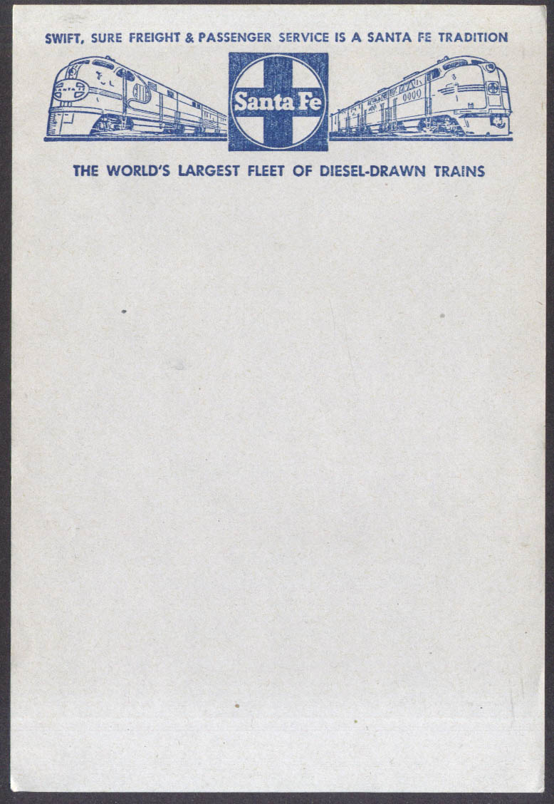 Santa Fe Swift Sure Freight & Passenger Diesel-Drawn Trains notepaper 5sh 1950s