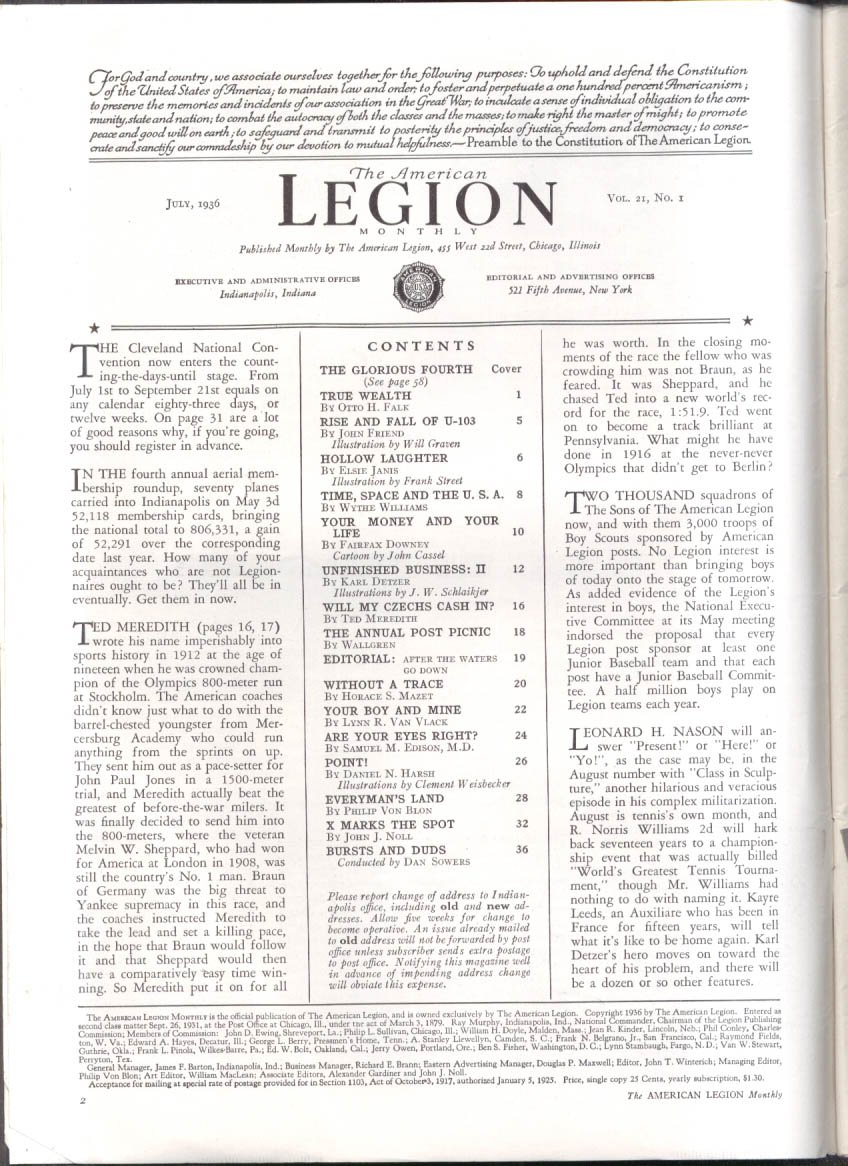 Sub U-103; Czechs at Olympics; Lost aviators: AMERICAN LEGION MONTHLY 7 1936