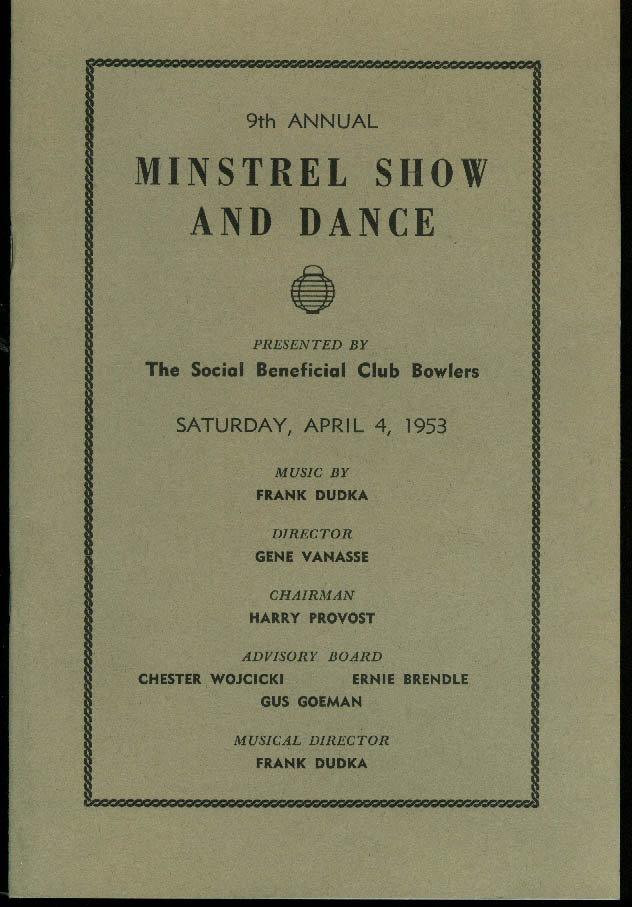 Social Beneficial Club Bowlers Minstrel Show & Dance Program Manchester NH 1953