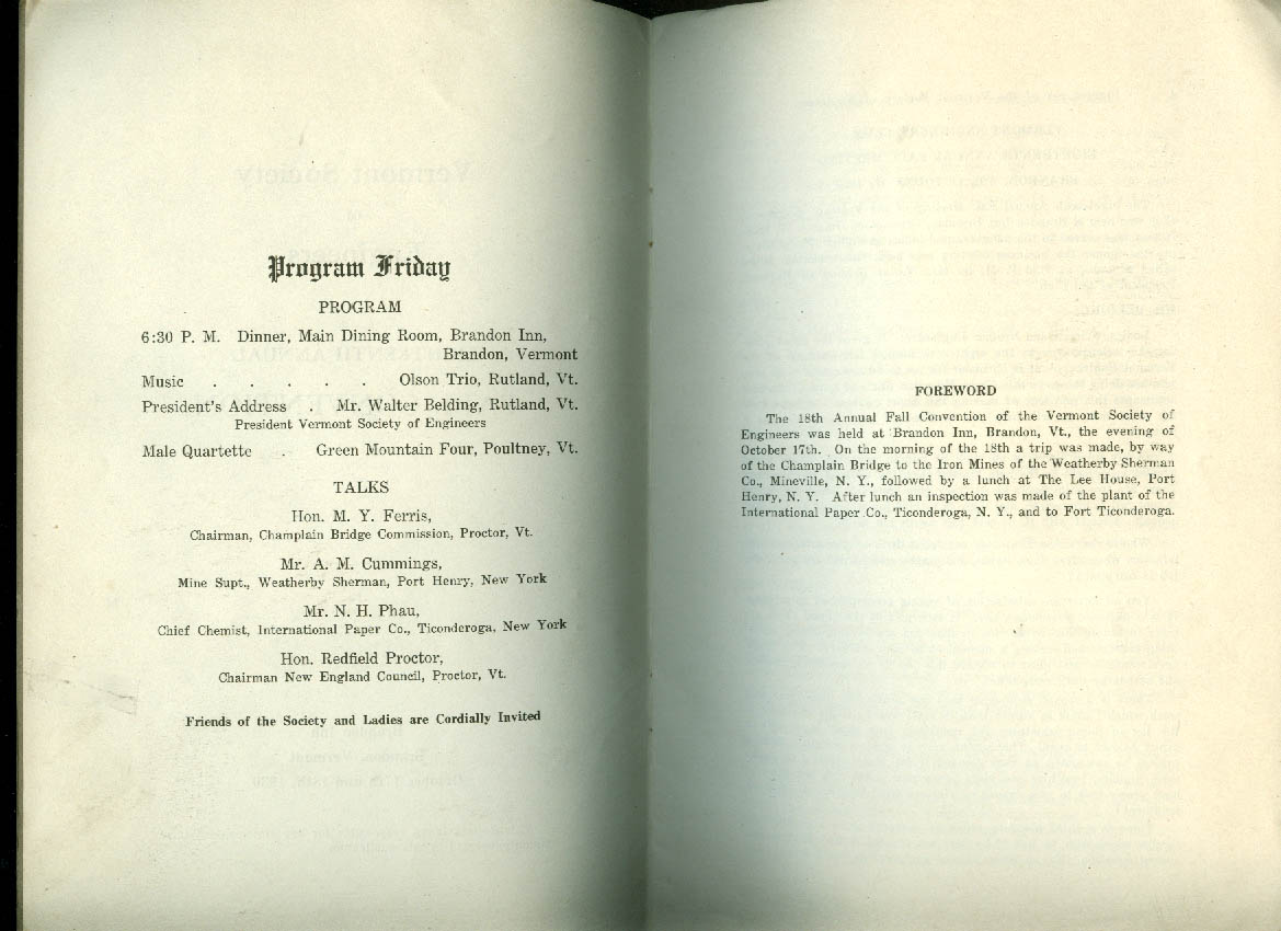 Vermont Society of Engineers Fall Convention Proceedings & Program 1930