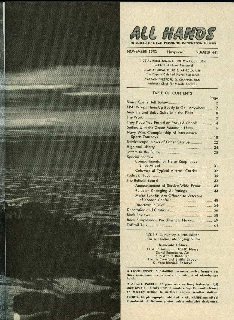SONAR v subs Lake Champlain Navy baby subs ALL HANDS US Navy Info Bulletin 1953