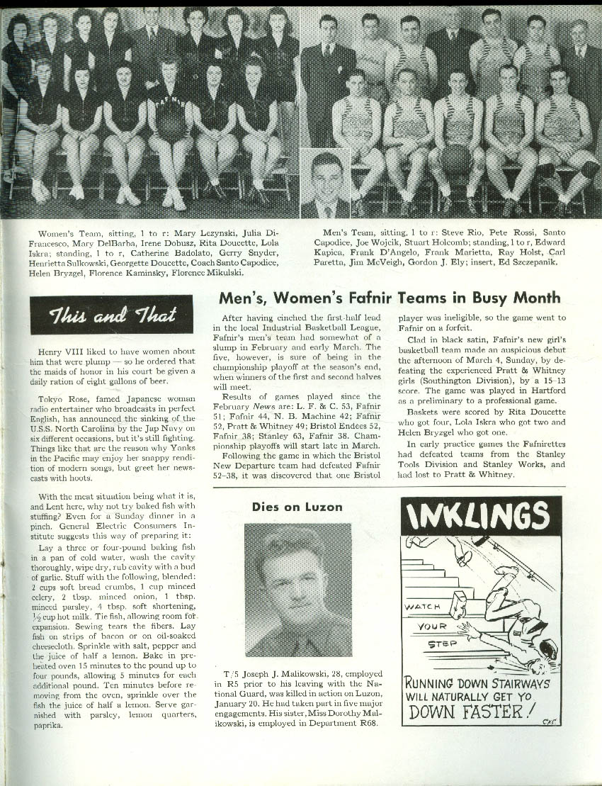 Fafnir Bearing News 3 1945 Fafnir men in service, company athletics +