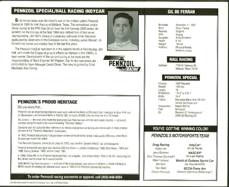 Gil de Ferran Pennzoil Special Hall Racing Indycar print 1995