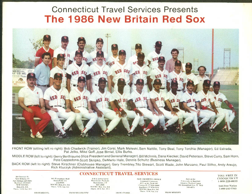 1986 New Britain Red Sox Team Picture Connecticut Travel Services