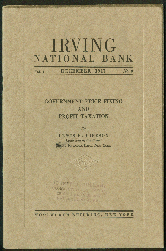 Irving National Bank Government Price Fixing & Profit Taxation booklet 12 1917