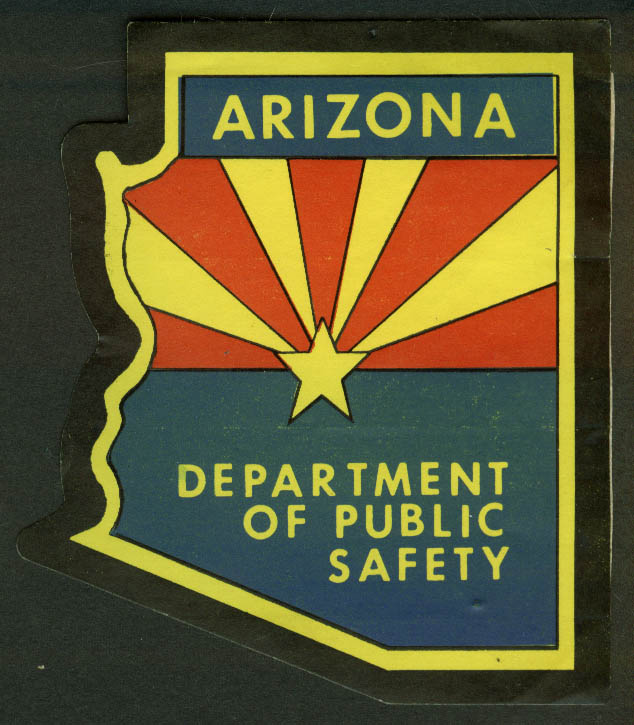 Arizona Department of Public Safety crack-&-peel sticker, unused, undated