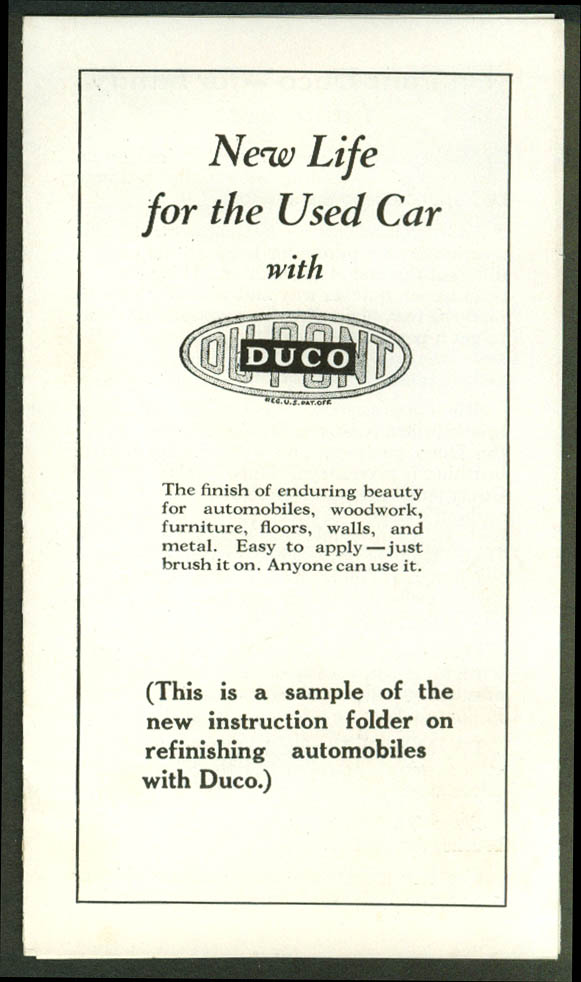 New Life for the Used Car Du Pont Duco Paint folder 1920s