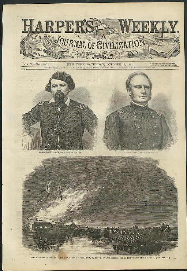 Privateer Judith burned Gen Sturgis & Price Harper's Weekly ORIGINAL 10/12 1861