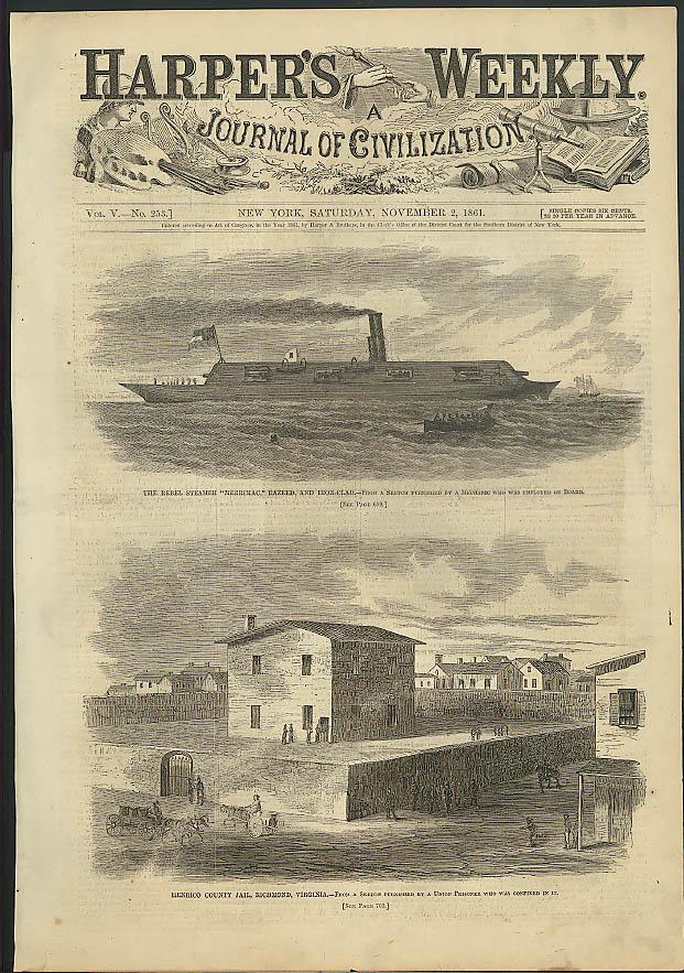 Rebel ironclad Merrimac Henrico Cty Jail VA Harper's Weekly ORIGINAL 11/2 1861