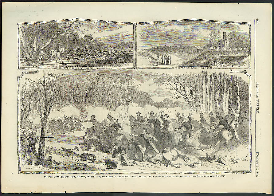Hunter's Hill skirmish PA Cavalry v rebels Harper's Weekly ORIGINAL 12/21 1861