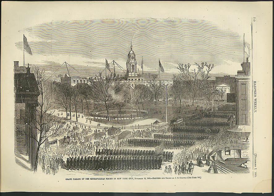 Image for Grand Parade Metropolitan Police NY City Harper's Weekly ORIGINAL 12/2 1865