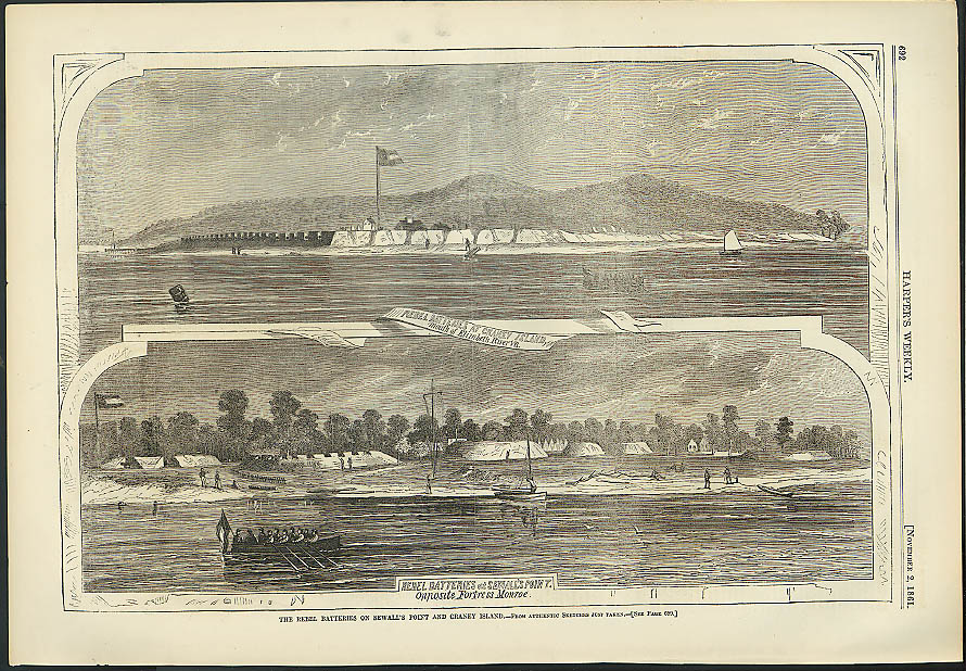 Rebel batteries Craney Island Sewall's Point Harper's Weekly ORIGINAL 11/2 1861