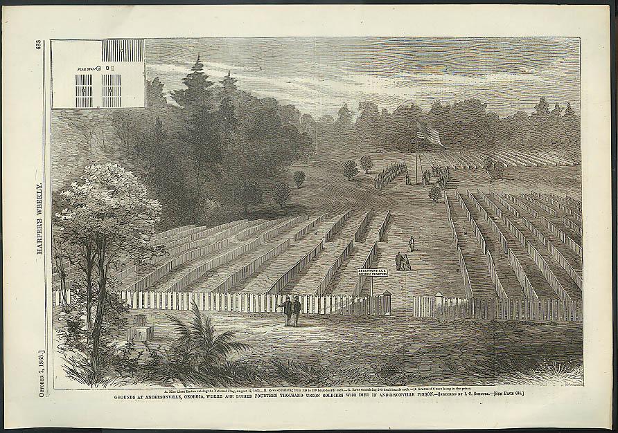 Burial grounds at Andersonville Prison GA Harper's Weekly ORIGINAL 10/7 1865