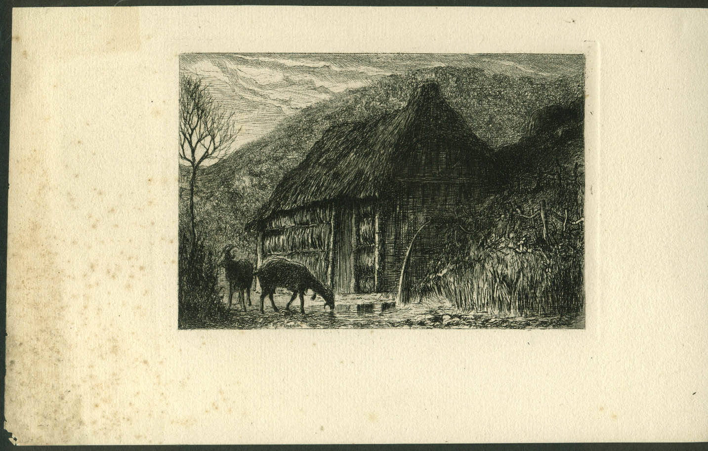 Image for Thatched roof building & goats etching by Philip Gilbert Hamerton ca 1860s