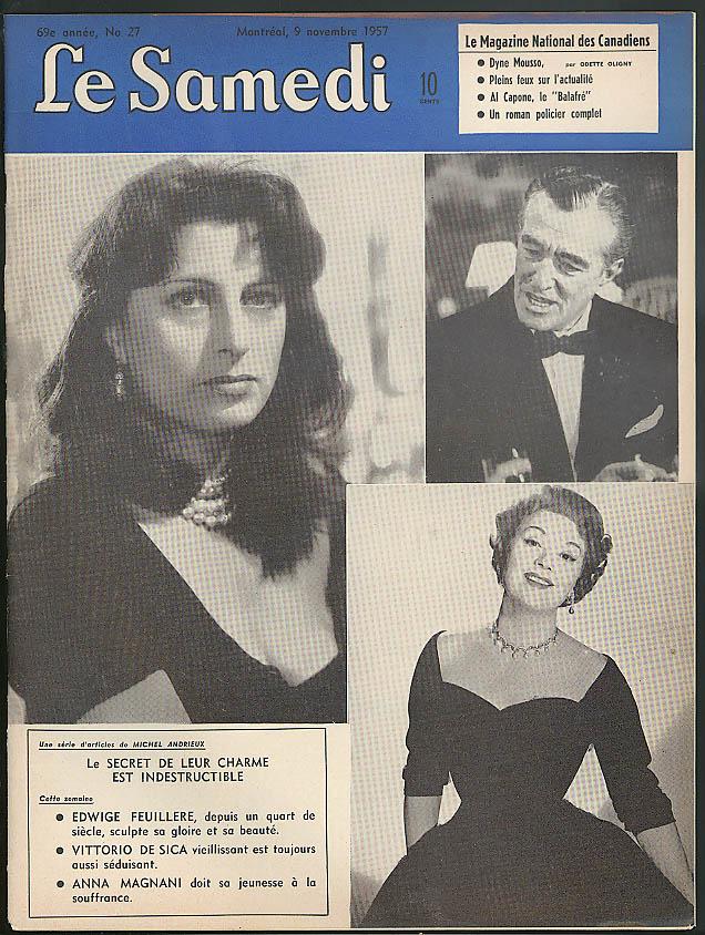 LE SAMEDI 11/9/1957: Anna Magnani Vittorio De Sica Dyna Musso Al Capone