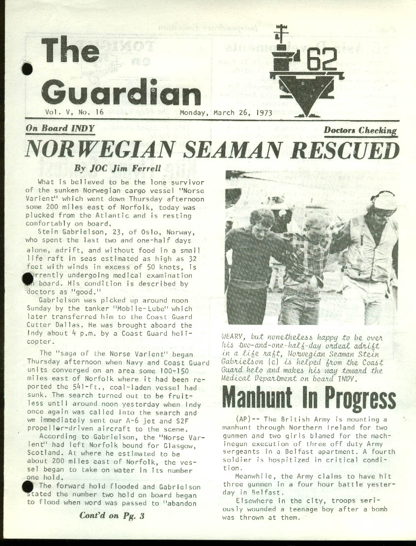 USS Independence CV-62 GUARDIAN Newspaper 3/26 1973 Norse Variant rescue