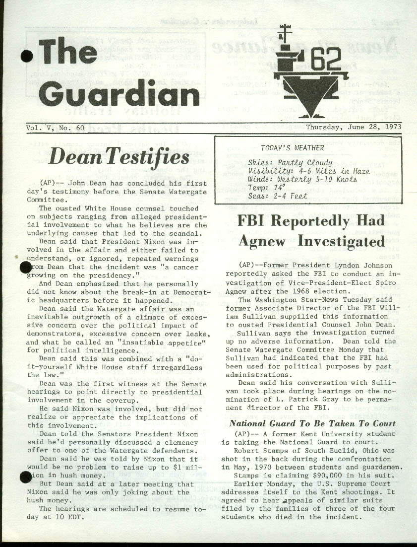 USS Independence CV-62 GUARDIAN Newspaper 6/28 1973 FBI vs Agnew John Dean