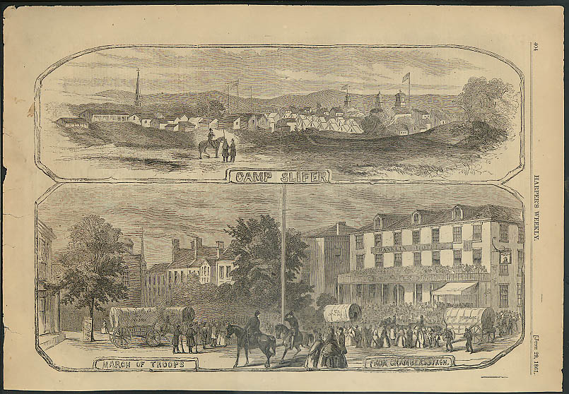 Image for Camp Slifer / Troops leave Chambersburgh HARPER'S WEEKLY page 6/29 1861
