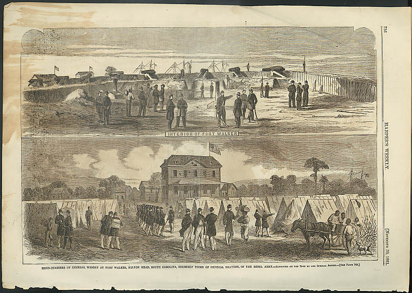 Image for Union Gen Wright HQ Ft Walker SC HARPER'S WEEKLY page 11/30 1861