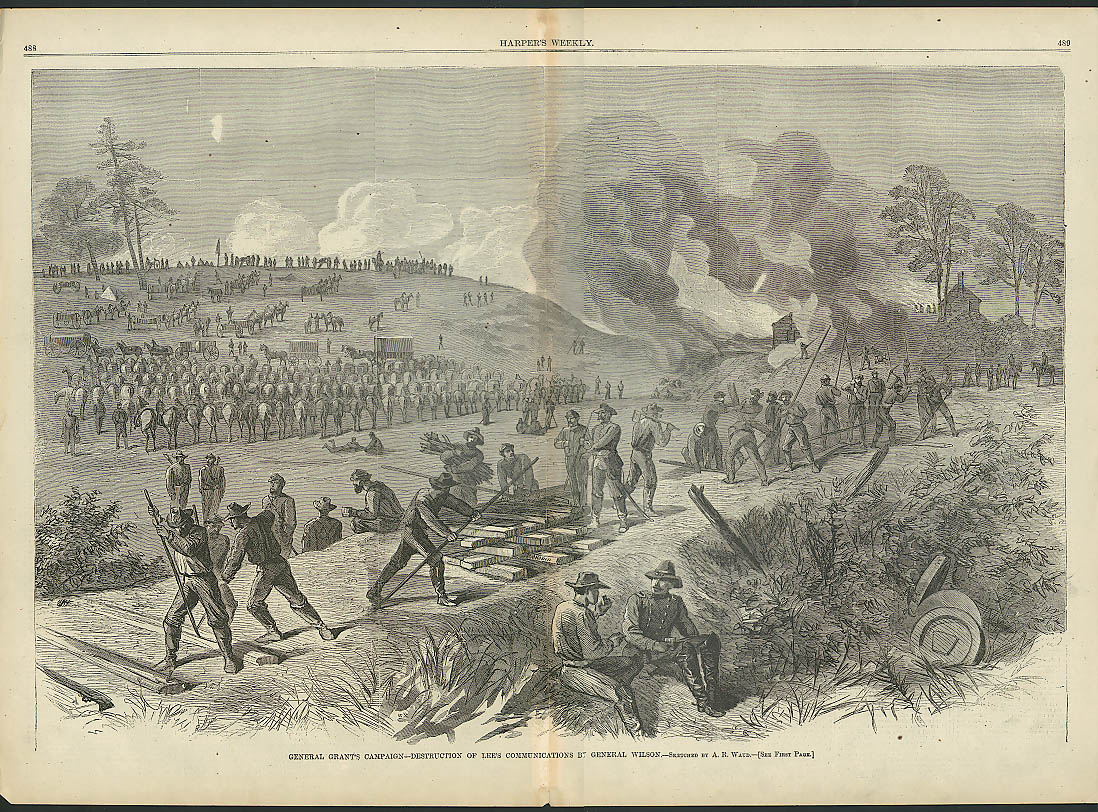 Image for Grant Campaign Gen Wilson destroys Lee's Communications HARPER'S WEEKLY 1864