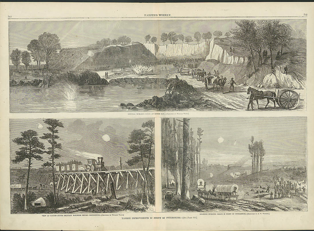 Image for Gen Butler's Canal / Petersburg Yank Improvements HARPER'S WEEKLY page 11/5 1864