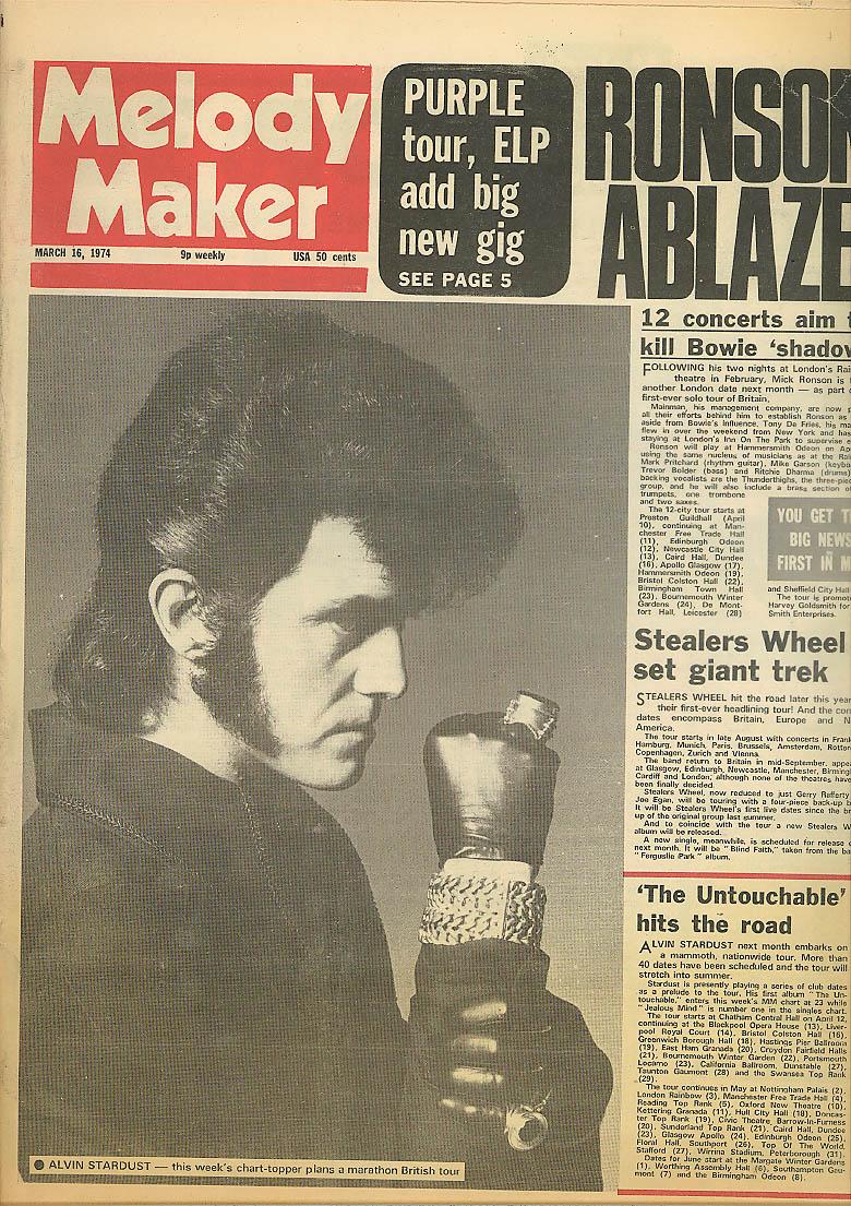 Image for MELODY MAKER Alvin Stardust Ronson Purple Rain ELP Stealers Wheel 3/16 1974