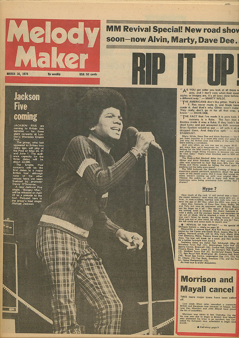Image for MELODY MAKER Michael Jackson Five Marty Wilde Dave Dee Alvin Stardust 3/30 1974