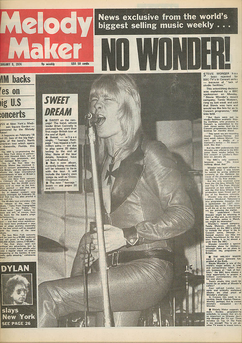 MELODY MAKER Brian Connolly Sweet Stevie Wonder Bob Dylan 2/9 1974